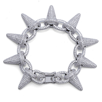 TOPGRILLZ Spikes Rivet Stud Mens Rivet Charm Bracelets 2018 Iced Out Gold Silver Color Bracelets For Men Hip Hop/Punk Jewelry