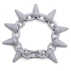 Image 1 - Topgrillz Spikes Rivet Stud Mens Rivet Charm Armbanden 2018 Iced Out Goud Zilver Kleur Armbanden Voor Mannen Hip Hop/punk Sieraden