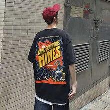 HFNF 2019 mens hip hop tshirt Japanese Cartoon Devil Printed Retro Loose Male T-shirt Youth Harajuku rapper shirt
