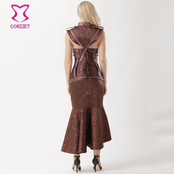 Brown Steel Underbust Steampunk Dress Vintage Corsets And Bustiers Plus