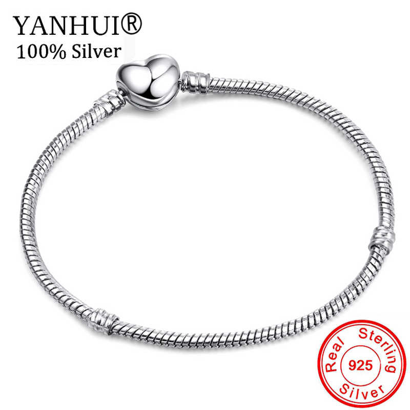 YANHUI Original 925 Solid Silver Heart Shape Clasp Snake Chain Charm Bracelets For Women Girl DIY Making Jewelry 16-23CM BH191