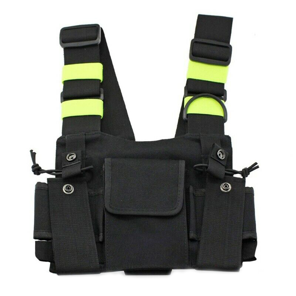 Reflective Radio Chest Harness Chest Front Pack Pouch Holster Vest Rig Carry Case For Two Way Radio Walkie Talkie