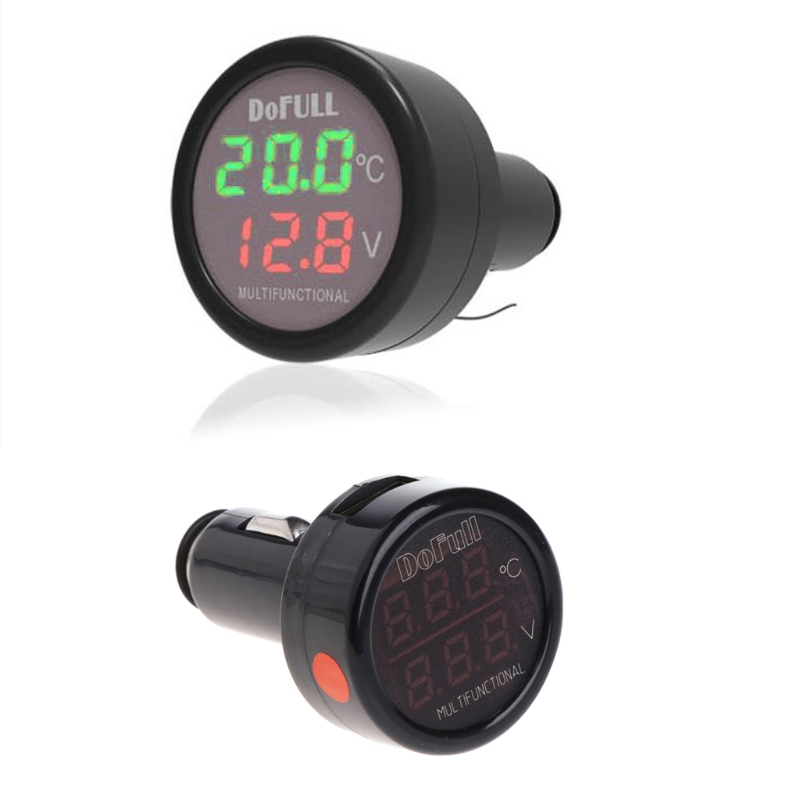 3 in 1 Multifunction Car Digital Voltmeter USB Charger LED Battery DC Voltage Thermometer dc 5v 3 1a 4 in 1 led digital voltmeter ammeter thermometer dual usb universal car charger voltage current temperature meter