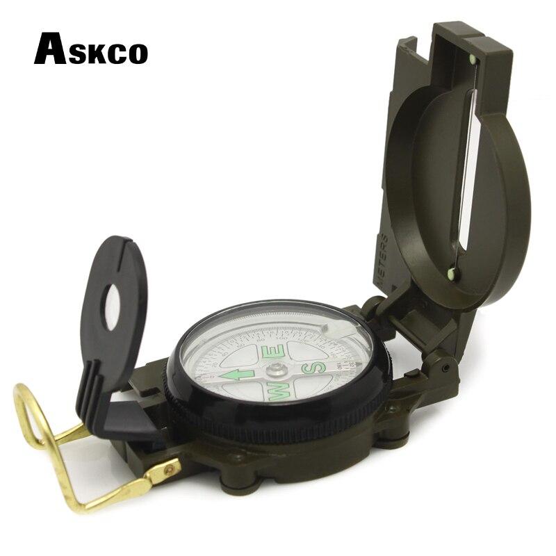 Livraison gratuite Askco Portable armée vert pliant lentille boussole en métal militaire Marching Lensatic Camping boussole nouveau