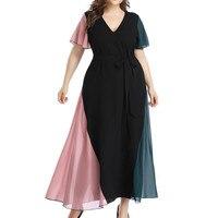 Женская Летняя мода большого размера шифоновое с v-образным вырезом кружевное платье с коротким рукавом Повседневное платье женские летние...