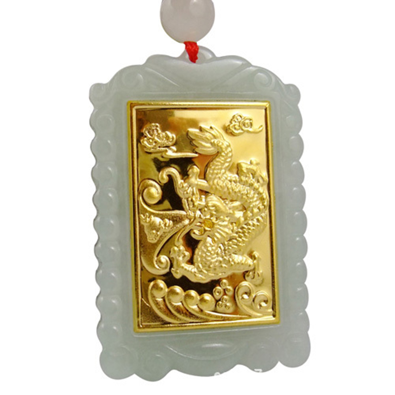 TJP 2018 Gold Jade Square Style Dragon Pendant Good Quality Men Women Necklace Free shipping tjp natural myanmar jadeite longfeng pair pendant double happiness dragon phoeni jade pendant for women and men
