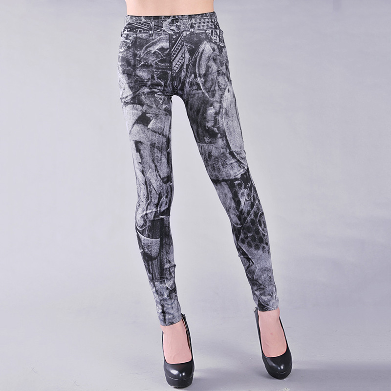 New Arrival Women Jeggings Sexy Lady Skinny Pencil Pants All-Match Stretchy Leggings Stretch Denim Jean Look Leggings