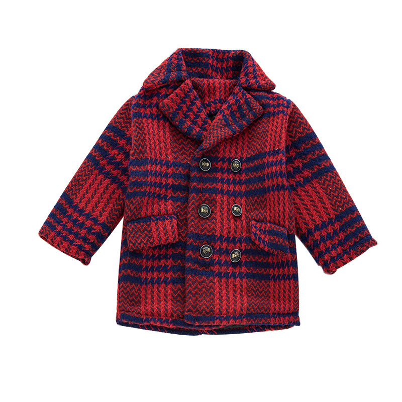 Boys Woolen Coat Children Thick Jacket Kids Outerwear Girls Clothes New Child Long Jacket