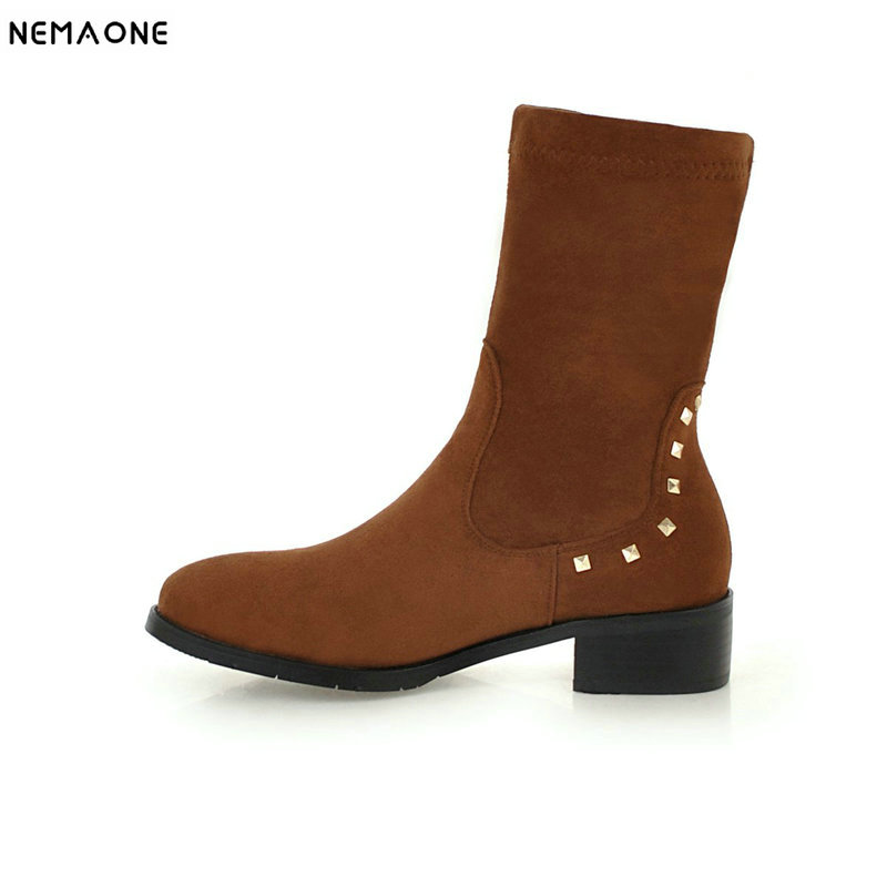 NEMAONE New low heels ladies ankle boots woman casual shoes spring autumn women western boots large size 43NEMAONE New low heels ladies ankle boots woman casual shoes spring autumn women western boots large size 43