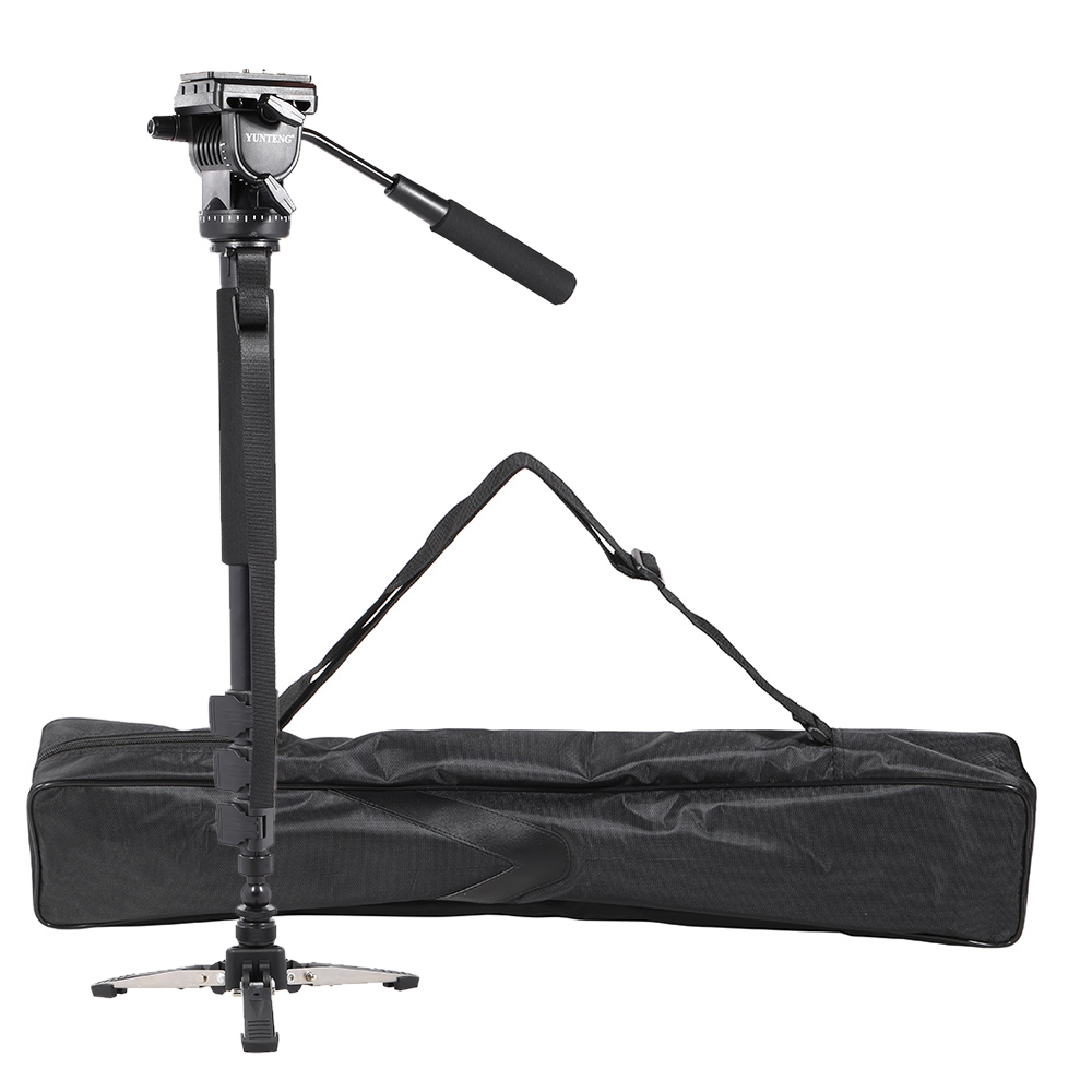 цена на Professional Aluminum Alloy Tripod Video Monopod with Fluid Pan Head + 3 Feet Support Unipod Holder for Canon Sony Nikon DSLR