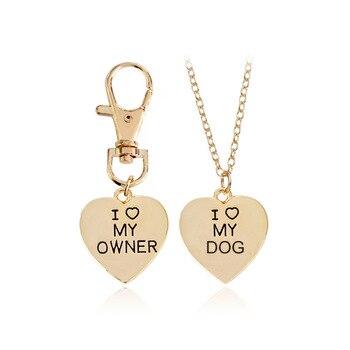 I Love My Owner collar llavero 2 unids/set oro plata corazón colgante moda mejores amigos joyas mascota perro Memorial collares