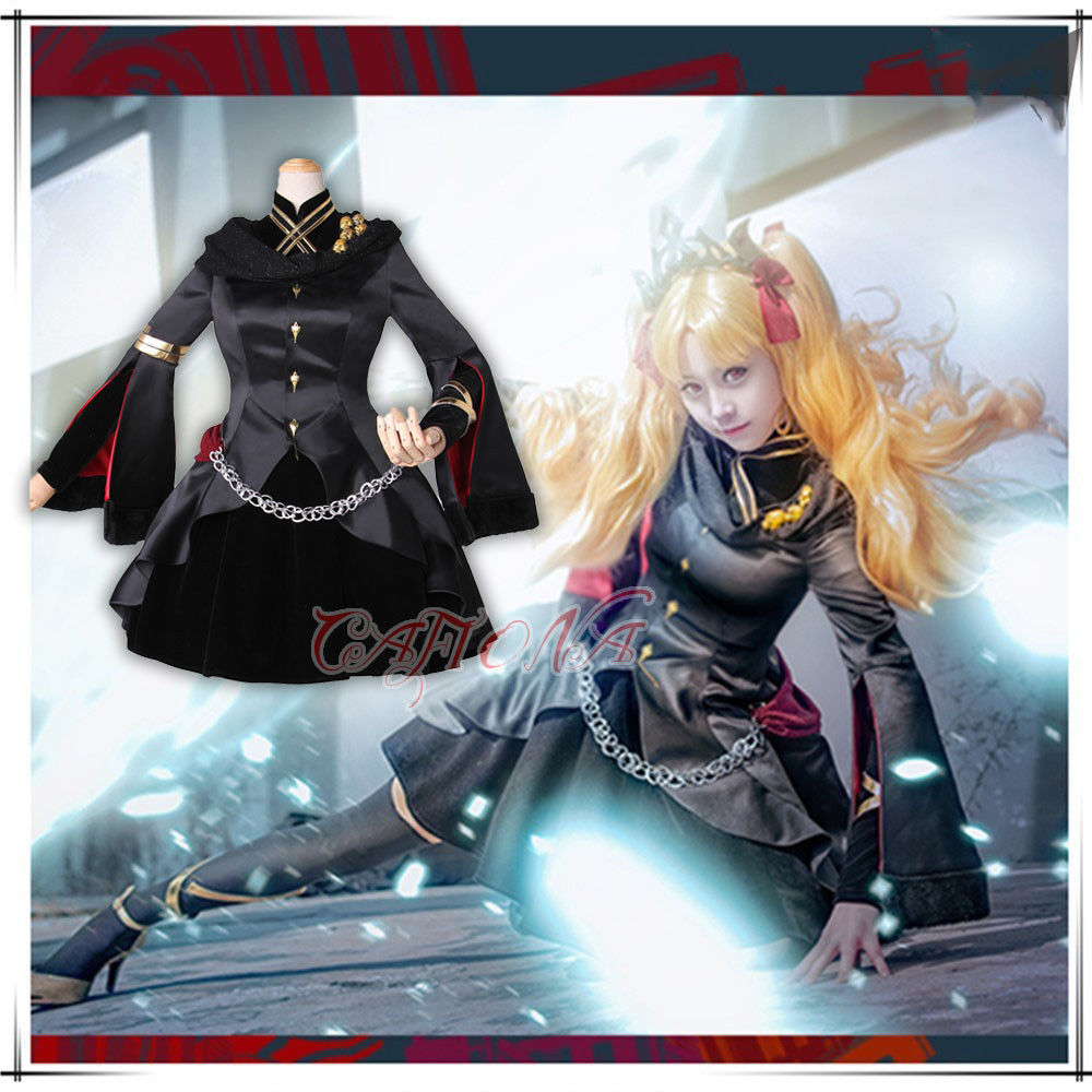 Cafiona Newest FGO Fate Grand Order Lancer Ereshkigal Cosplay Costume Elegant Black Women Dress Set