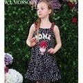 W. l. monsoon meninas do vestido do verão 2017 da marca artesanal floral vestido de princesa meninas roupas dot impressão crianças trajes robe enfant fille