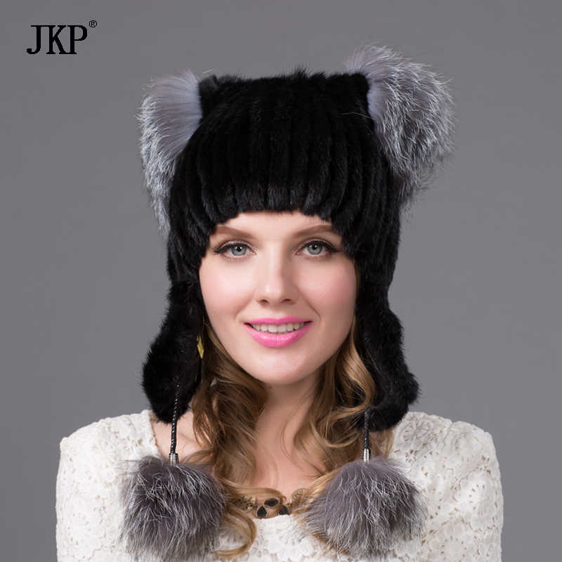 688cc6eea83 2017 New Style Mink Point Fur Hats Women s Fur Bomber Hats with Silver Fox  Fur Tops