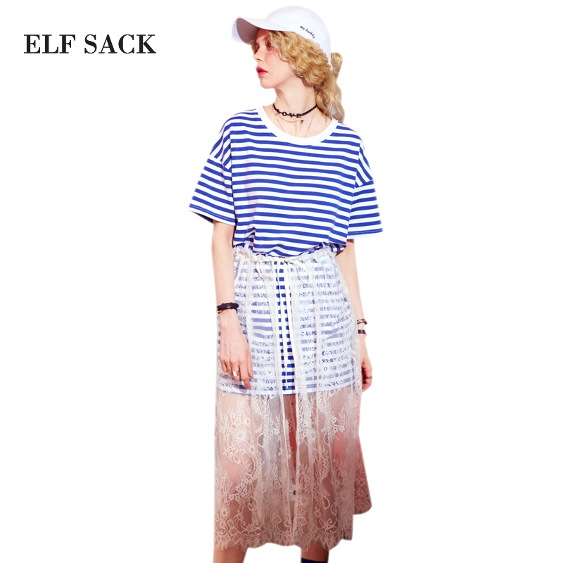 White Women Striped Blue Hem Printing Lace Sack Neck Blue red Casual One Dresses Pieces Two Womens Dress O Elf Summer Piece wHXO7qqI