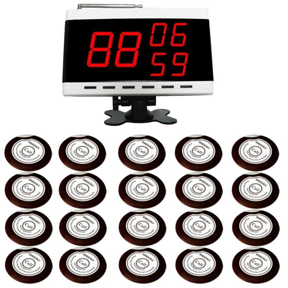 Система вызова беспроводной сигнализации SINGCALL. 20 кнопок колокольчиков и 1 приемник экрана дисплея