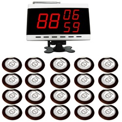 SINGCALL Wireless Calling Alarm Paging System. 20 Table Bells Buttons and 1 Display Screen Receiver