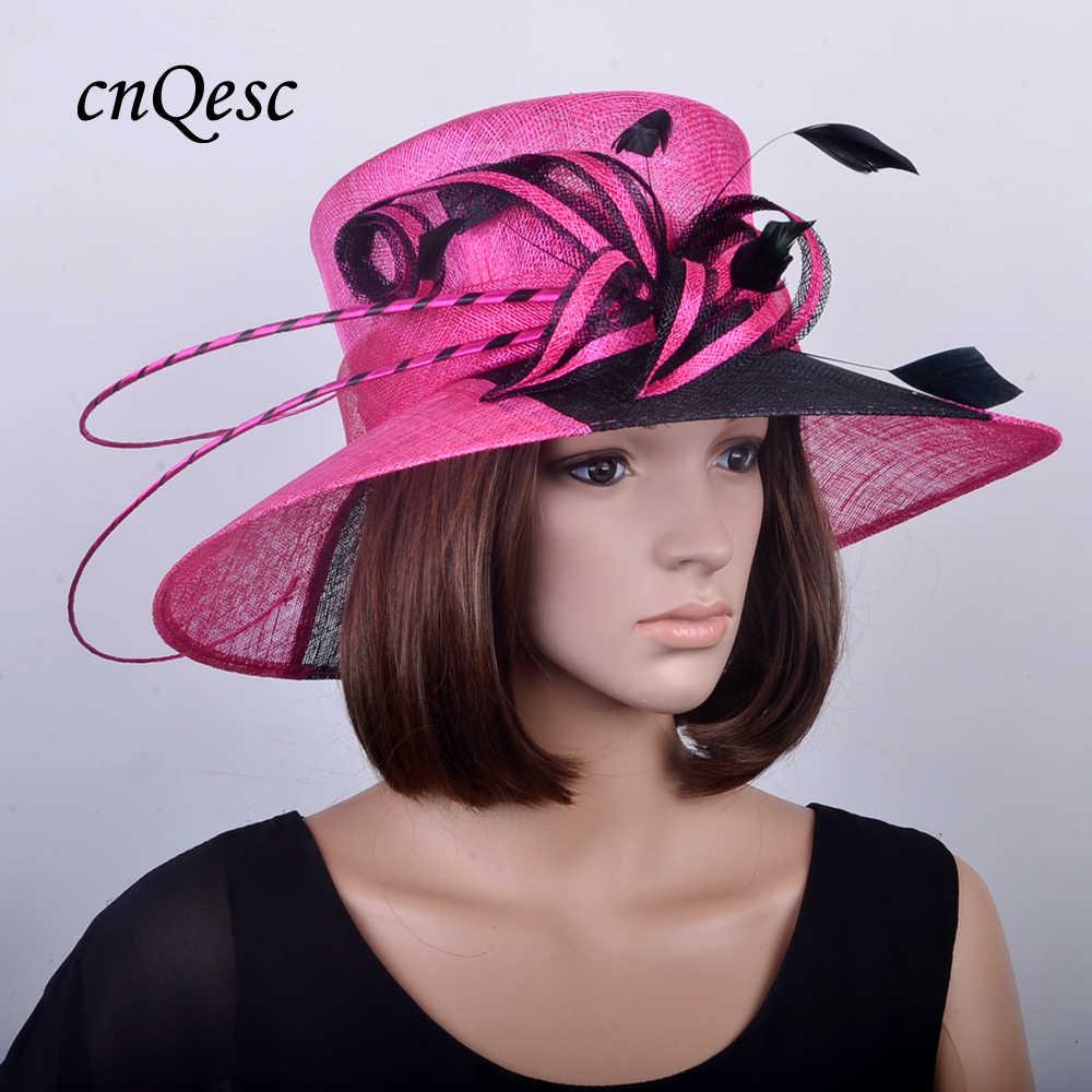 e58563f8835a4 NEW fuchsia black Large brim dress Derby Hats Sinamay Church hat wedding  fascinator for races
