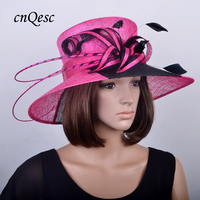 NEW fuchsia/black Large brim dress Derby Hats Sinamay Church hat wedding fascinator for races/Kentucky Derby/party,QHS054