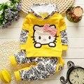 Bibicola primavera outono conjunto de roupas meninas crianças roupas de bebê hello kitty hoodies terno do esporte da camisola outerwear