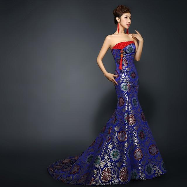 Royal Blue Mermaid Evening Dresses Strapless Trailing Sexy Qipao China  Wedding Cheongsam Long Traditional Chinese Dress fe52c0e21abd