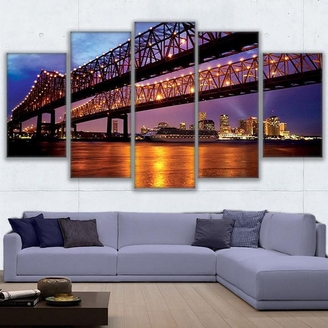 Canvas Paintings Wall Art Home Decor 5 Pieces Greater New Orleans Bridge Landscape Pictures Living Room