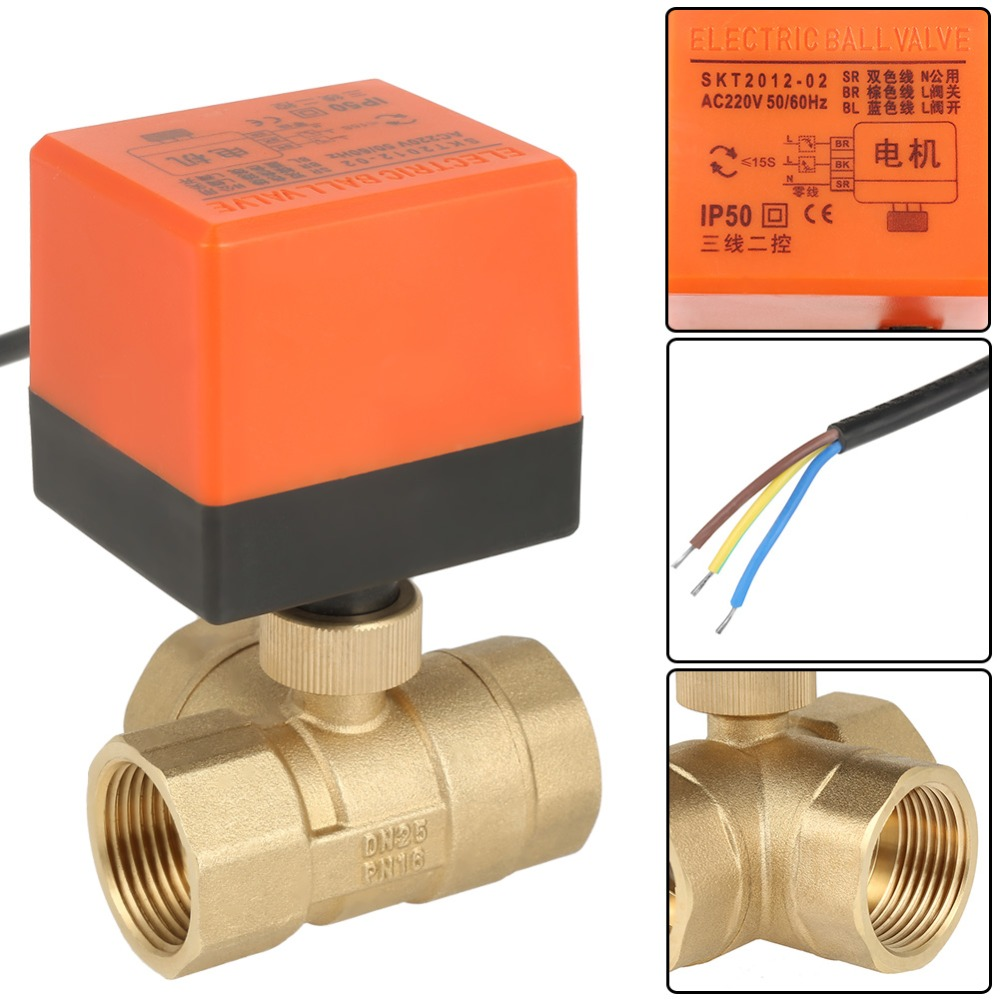 Solenoid valve AC 220V Brass Electric Motorized Ball Valve 2 Way 3 Wire T-type 1.6pa Thread DN25 G1 3 Way valvula for water air brass connector 2 way welding machine rotatable solenoid valve ac 24v