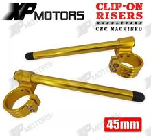 New Gold 45mm Forks Universal Motorcycle CNC 1″ Raised Clip-On Handlebars Riser Clipons
