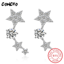2018 New Sale Star Party Trendy Zircon Concho Jewelry 925 Sterling Rose/silver Stars Stud Earrings For Women