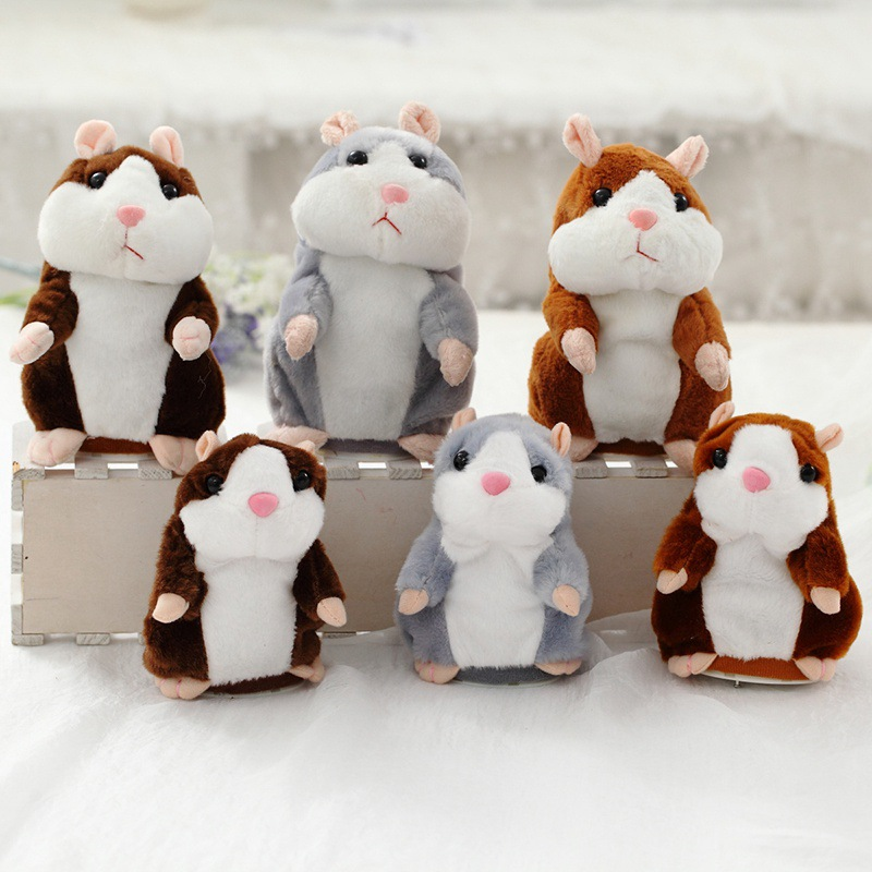 Dropshipping Promotion 15cm Lovely Talking Hamster Speak Talk Sound Record Repeat Stuffed Plush Animal Kawaii Hamster Toys 2 colors kawaii talking hamster plush toys sound record plush hamster stuffed toy for children kids high quality