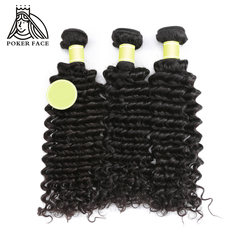 Poker Face Deep Wave Indian Hair Natural Color 10 30 inches 3 Bundles 100 Human Remy