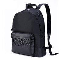 Классический бренд вертикальный квадрат рюкзак унисекс водонепроницаемый нейлон ткань пятизвездочный заклепки украшения тенденция дорож
