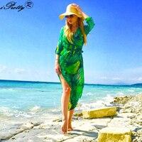 Elegant Summer Maxi Dress Palm Leaf Printed Sexy Deep V Neck Half Sleeve Shirt Vestido 2017