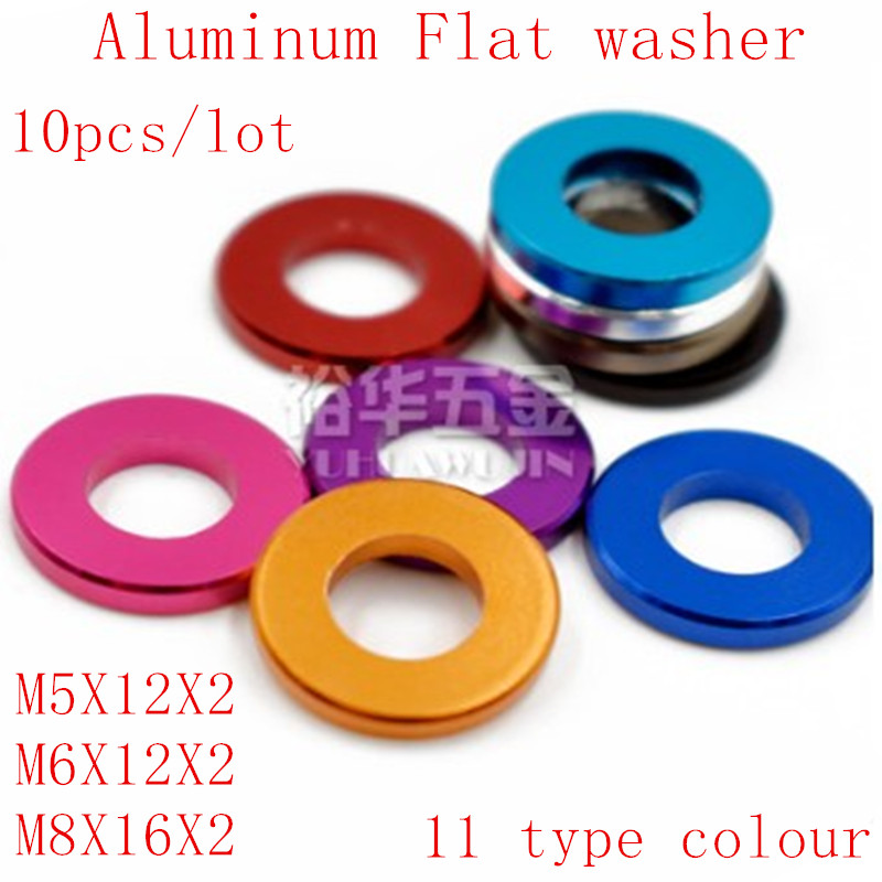 10pcs/lot M5 M6 <font><b>M8</b></font> Corlorful Aluminum Flat Gasket <font><b>washer</b></font> for RC part image