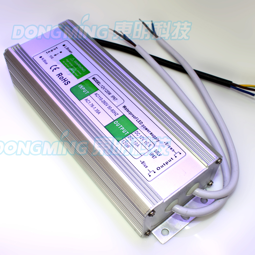 Factory price 5pcs DC 12V power supply 120W 10A led power adapter waterproof IP67 AC100-260V led driver transformer