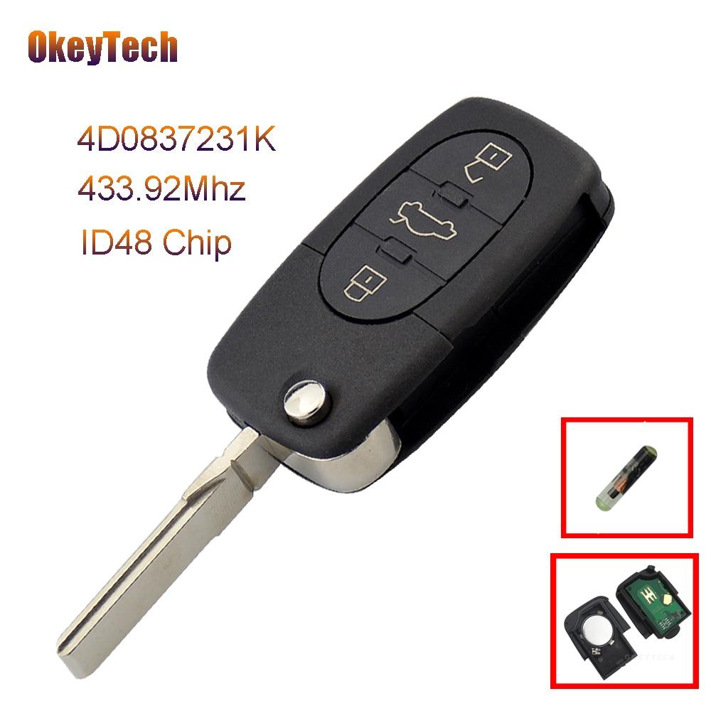OkeyTech Remote Car Key Keyless Entry Fob 3 Button 433.92MHZ 4D0 837 231 K 4D0837231K For Audi A6 TT Old Models WIth ID48 Chip динамик широкополосный sica 4d0 8cs 4 ohm