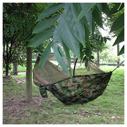 Wholesale! Portable Camouflage High Strength Parachute Fabric Hammock Hanging Bed With Mosquito Net For Outdoor Camping Travel