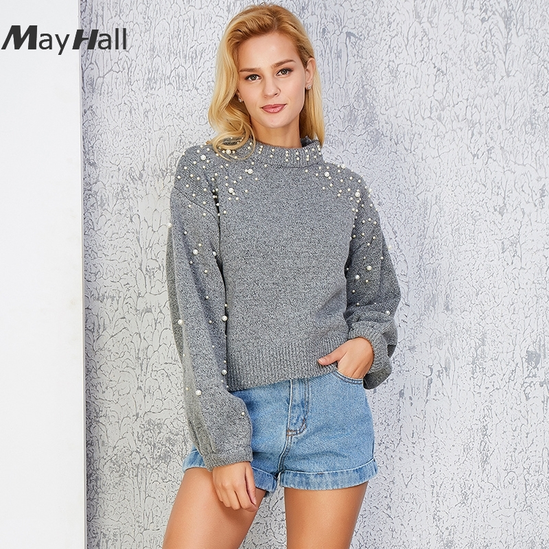 MayHall Beading Drop Shoulder Pullovers Knitted Long Sleeve Women Sweaters Loose Gray Casual Autumn sueter mujer MH301