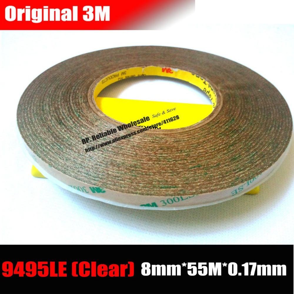 3M (8mm*55M*0.17mm) 300LSE Super High Bond Transparent Double Adhesive Tape for iphone /ipad /Samsung Galaxy Touch Panel/ Frame 1x 29mm 55m 3m 9495le 300lse clear double sided super strong adhesive tape for phone lcd frame jointing lens bond