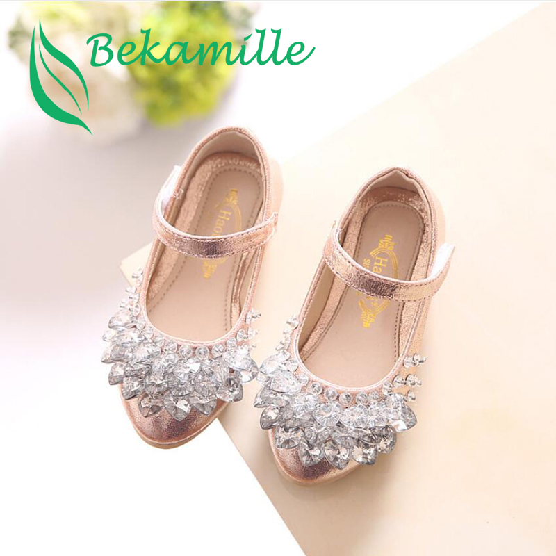 Bekamille Children Shoes 2018 New Fashion Girls Baby Leather Shoes Kids Girls Princess Rhinestone Shoes Dance Shoes Size 21-36 kids leather shoes sweet princess girls baby shoes cut outs flower shoes children rivet student dance shoes