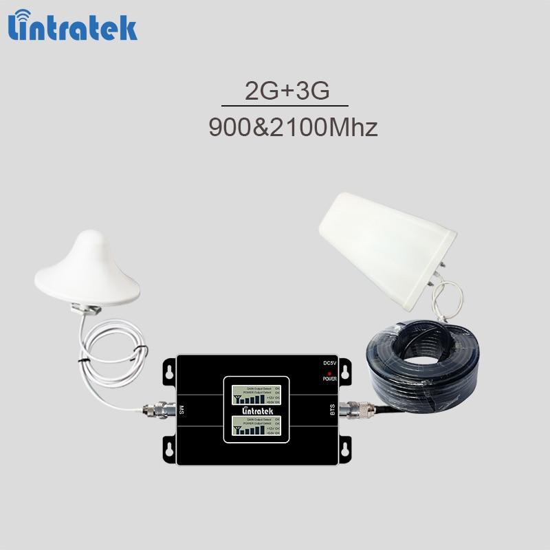 Lintratek cellular signal booster doble banda GSM 900 MHz UMTS 2100 MHz 2G 3G señal repetidor con LCD pantalla Completa kit #6,5