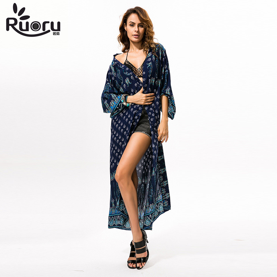 Ruoru Women Loose Long Blouse Shirt Long Maxi Boho Kimono Plus Size Casual Women Top for