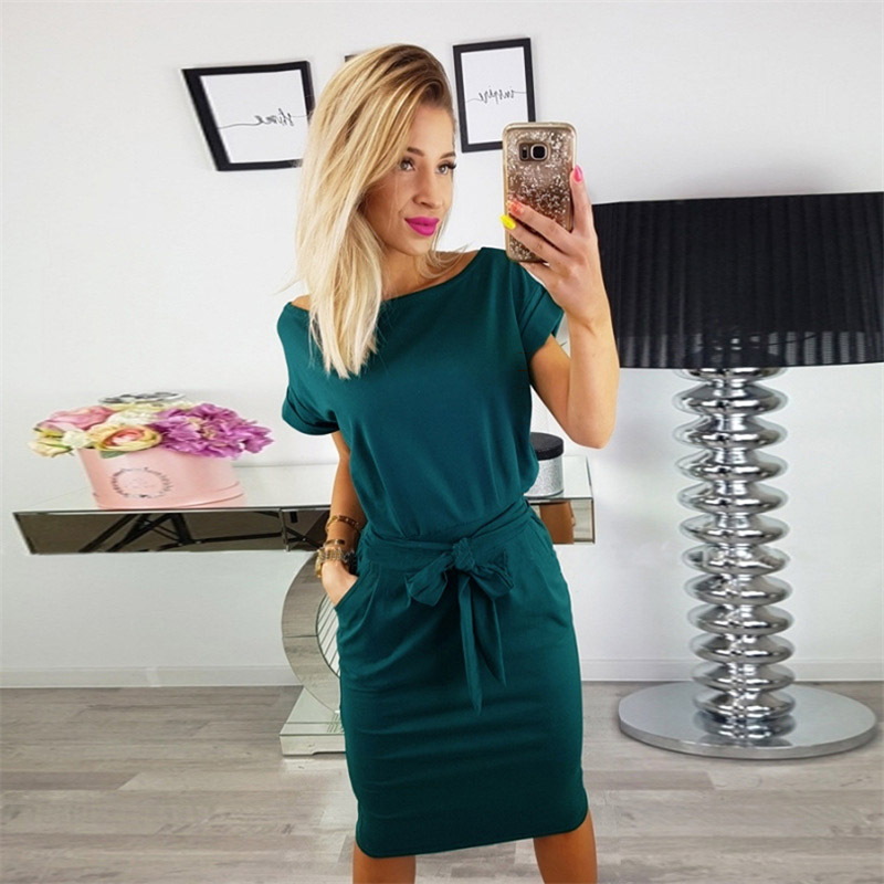 Summer Casual Women's <font><b>Dress</b></font> <font><b>Sexy</b></font> Short Sleeve Slim With Belt <font><b>Dresses</b></font> Pockets Elegant Party <font><b>Dress</b></font> Feminina <font><b>Plus</b></font> <font><b>Size</b></font> Vintage image