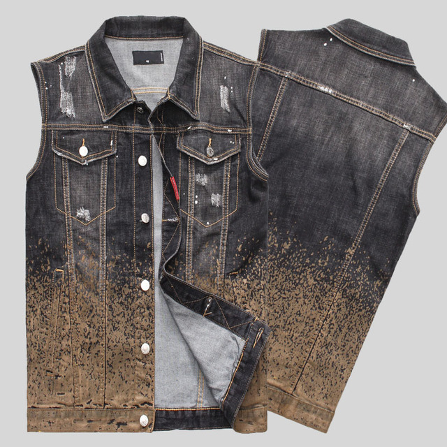2016 new  Arrival Fashion Mens Denim Vest Vintage Sleeveless washed jeans waistcoat Man Cowboy ripped Jacket Plus Size Tank Top