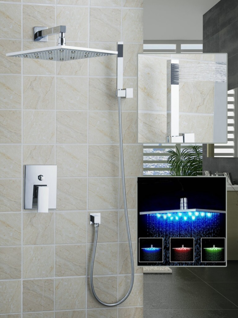 Modern bathroom showers - Hello Modern Bathroom Shower Set 12 Led Chuveiro Shower Head Wall Mounted Rain Shower Faucet