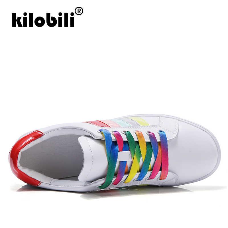 d44ecb5b51e kilobili 2019 Spring women oxfords shoes women genuine leather lace up boat  shoes White ballerina flats shoes woman sneakers