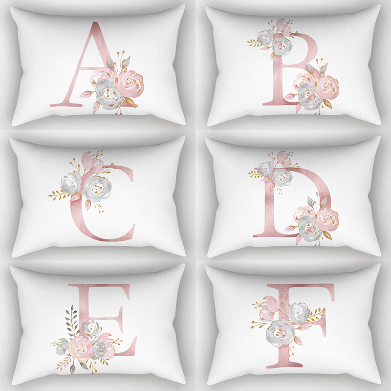 High Quality Hot Sale Popular Flowers 1PC English Alphabet 30*50cm 24 Letter <font><b>Pillow</b></font> <font><b>Case</b></font> image