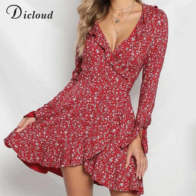Dicloud v образным вырезом красные пикантные оборками платье для женщин с длинным рукавом осень зима цветочный принт повседневное boho vestidos de fiesta