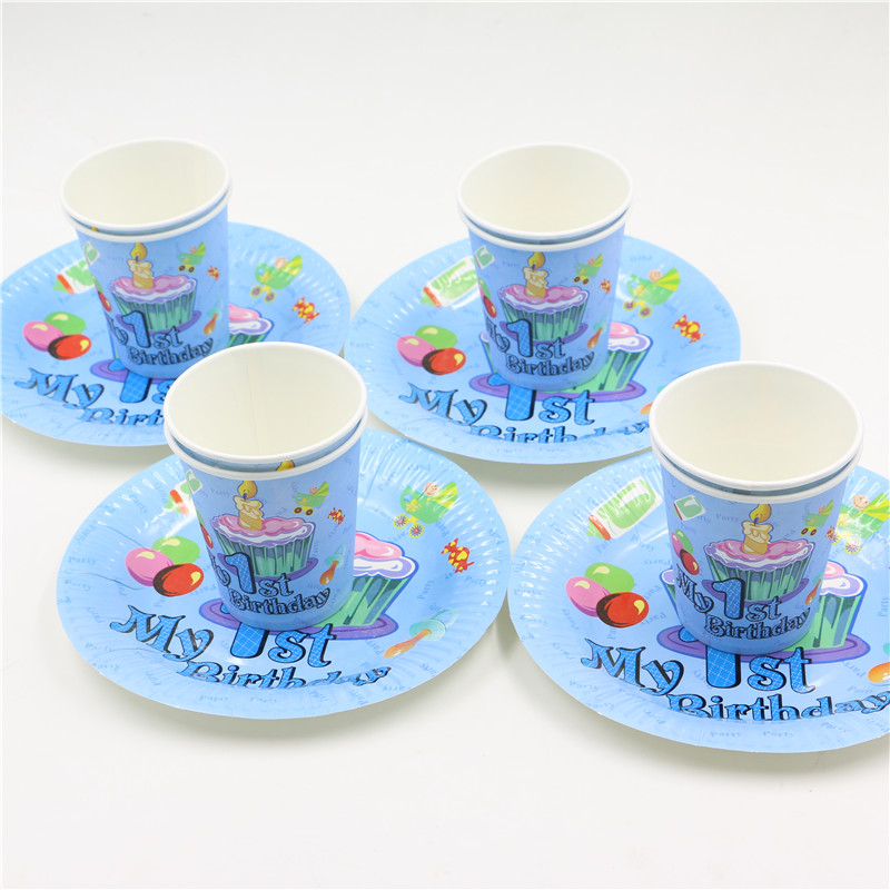 20pcs Baby 1st First Birthday Decor set disposable party paper cup plates supplies happy Birthday Fun Party Decoration-in Disposable Party Tableware from ...  sc 1 st  AliExpress.com & 20pcs Baby 1st First Birthday Decor set disposable party paper cup ...