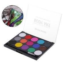 15 cores rosto pintura kit corpo maquiagem não tóxico água pintura a óleo com escova para o natal dia das bruxas fantasia carnaval vibrante festa